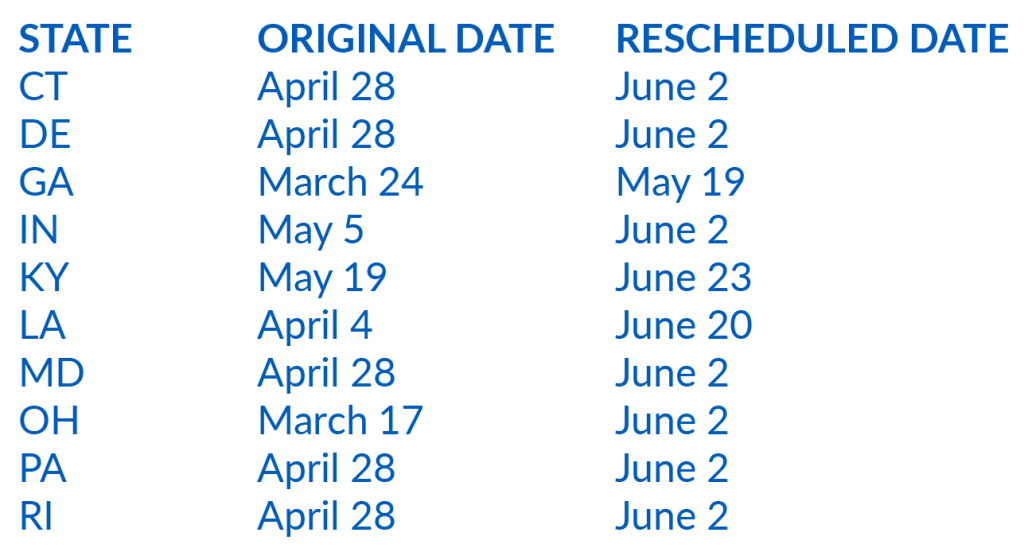 New Primary Dates 2020
