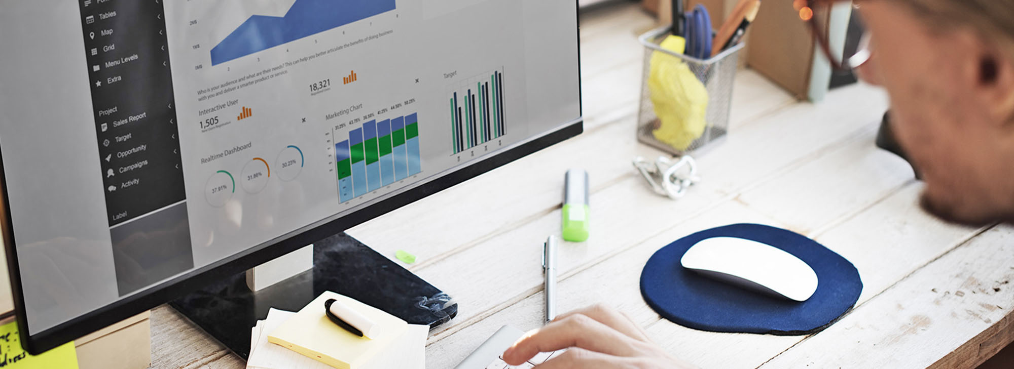 Businessman Working Dashboard of business intelligence stats