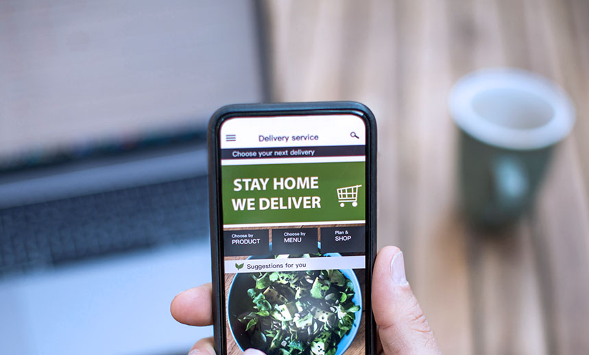 Ordering food online while in home isolation during coronavirus quarantine