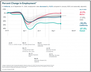 Percent Change in Employment due to COVID